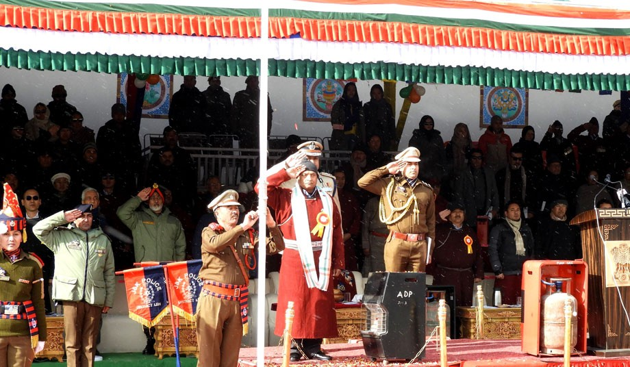 Republic Day celebration: L-G unfurls national flag in Leh